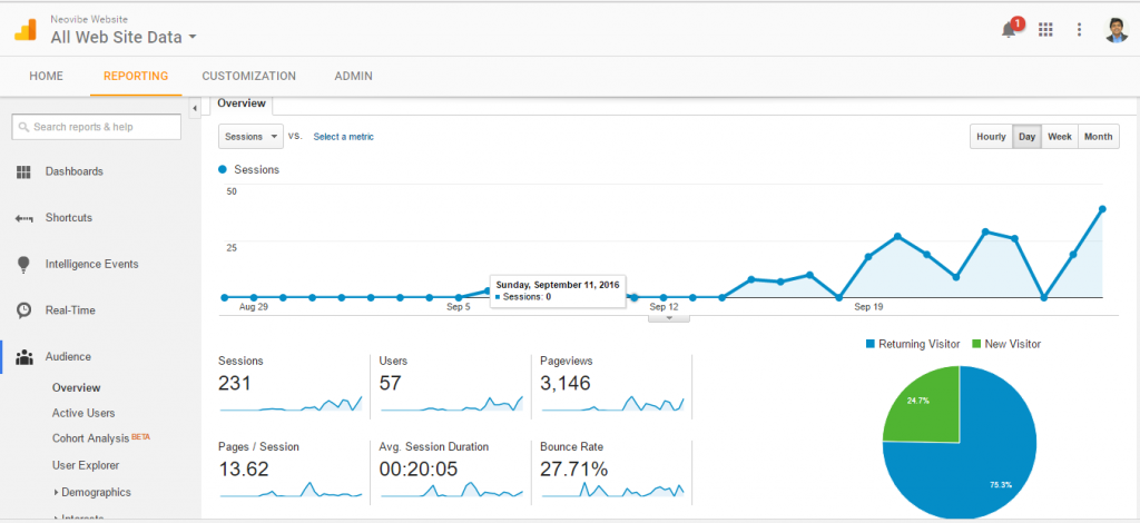 Google Analytics screen